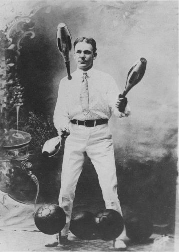Great Uncle Otto with his pin juggling and punching bag routine circa 1905