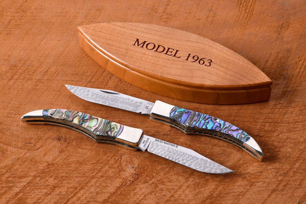 Model 1963 with pearl handles in a wild cherry wood box.